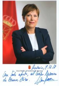 tarjeta de la presidente del centro navarro
